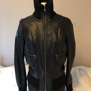 Faux leather jacket, Size small, Black.